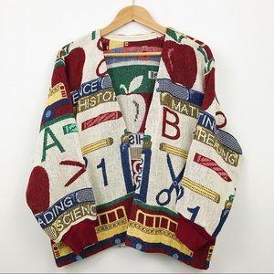 Vintage 90s school teacher print shawl cardigan